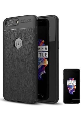 Teleplus OnePlus 5 Suni Deri Dokulu Silikon Kılıf + Nano Cam Ekran Koruyucu