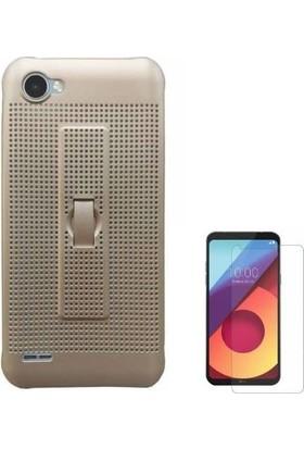 Teleplus LG Q6 Delikli Silikon Standlı Kapak Kılıf + Cam Ekran Koruyucu