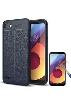 Teleplus LG Q6 Suni Deri Dokulu Silikon Kılıf + Nano Cam Ekran Koruyucu