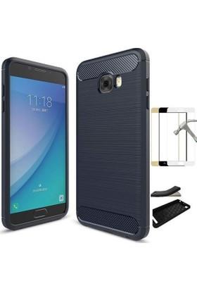 Teleplus Samsung Galaxy C7 Pro Özel Karbon ve Silikonlu Kılıf + Tam Kapatan Cam Ekran Koruyucu