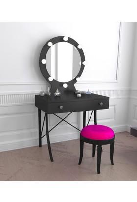 Monroe Işıklı Makyaj Masası - Siyah