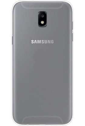 Happyshop Samsung Galaxy J7 Pro 2017 J730 Kılıf Ultra İnce Şeffaf Silikon + Cam