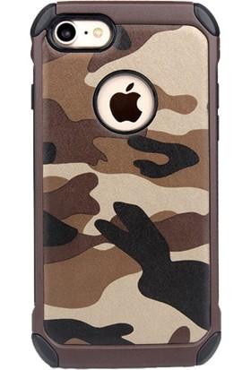 Happyshop Apple iPhone 5-5S-Se Kılıf Kamuflaj Desenli Ultra Korumalı Silikon + Cam