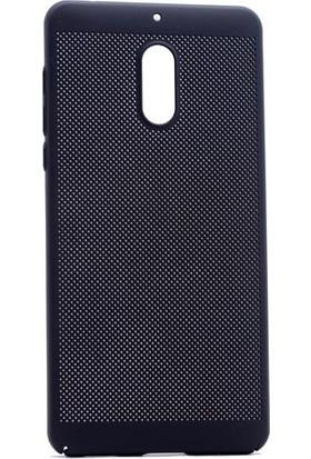 Happyshop Nokia 6 Kılıf İnce Delikli Sert Arka Kapak Rubber + Cam