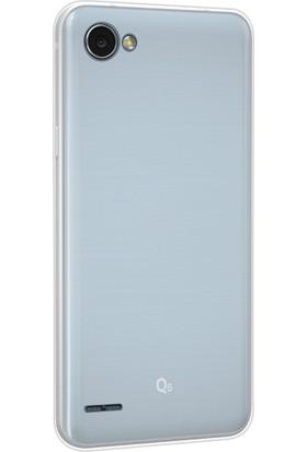 Happyshop Lg Q6 Kılıf Ultra İnce Şeffaf Silikon + Cam