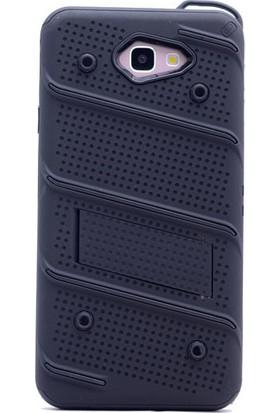 Happyshop Samsung Galaxy A7 2017 Kılıf Ultra Korumalı Standlı Slikon İron Case + Cam