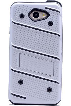 Happyshop Samsung Galaxy J5 Prime Kılıf Ultra Korumalı Standlı Slikon İron Case + Cam