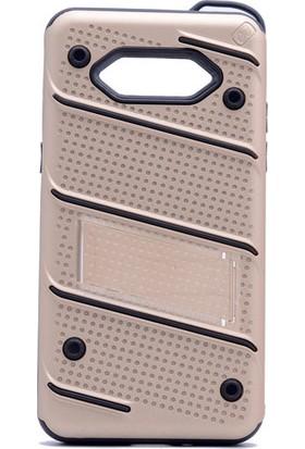 Happyshop Samsung Galaxy J2 Prime Kılıf Ultra Korumalı Standlı İron Case + Cam