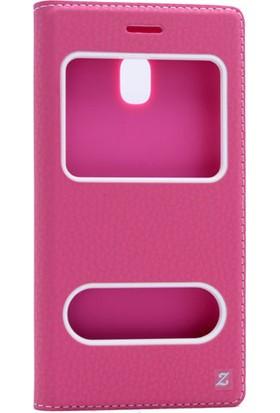 Happyshop Samsung Galaxy J3 Pro J330 Kılıf Gizli Mıknatıslı İnce Pencereli + Cam