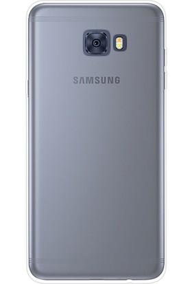Happyshop Samsung Galaxy C7 Pro Kılıf Ultra İnce Şeffaf Silikon + Cam