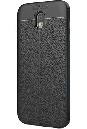 Happyshop Samsung Galaxy J5 Pro J530 Kılıf Deri Görünümlü Lux Niss Silikon + Cam