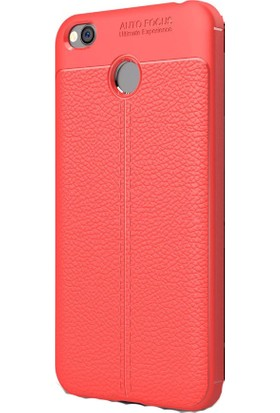 Happyshop Xiaomi Redmi 4X Kılıf Deri Görünümlü Lux Niss Silikon + Cam