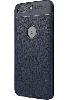 Happyshop One Plus 5 Kılıf Deri Görünümlü Lux Niss Silikon + Cam