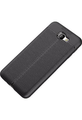 Happyshop Samsung Galaxy J5 Prime Kılıf Deri Görünümlü Lux Niss Silikon + Cam