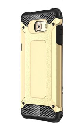 Happyshop Samsung Galaxy C7 Pro Kılıf Ultra Korumalı Çift Katmanlı Armour Case + Cam