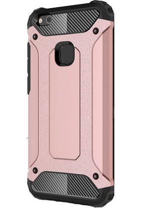 Happyshop Huawei P10 Lite Kılıf Ultra Korumalı Çift Katmanlı Armour Case + Cam
