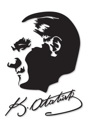 Decofour - İmzalı Atatürk Silüeti Duvar Sticker 44X60Cm