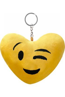 KullanAtMarket Göz Kırpan Kalp Şeklinde Emoji Anahtarlık