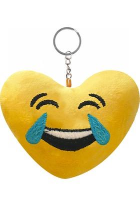 KullanAtMarket Gülmekten Ağlayan Kalp Şeklinde Emoji Anahtarlık