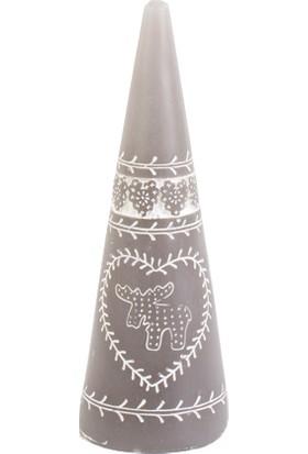 KullanAtMarket Gümüş Konik Mum Desenli 15 cm