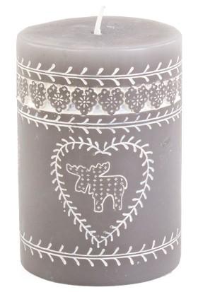 KullanAtMarket Gümüş Kütük Mum Desenli 10 cm