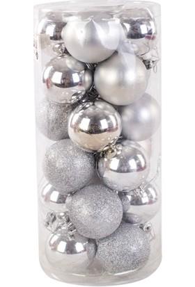 KullanAtMarket Gümüş Yılbaşı Ağaç Süs Seti 6 cm 24'lü