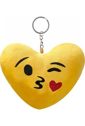 KullanAtMarket Kalpli Öpücük Kalp Şeklinde Emoji Anahtarlık