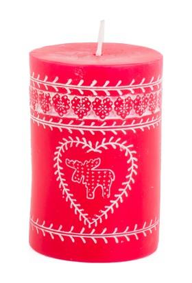 KullanAtMarket Kırmızı Kütük Mum Desenli 10 cm