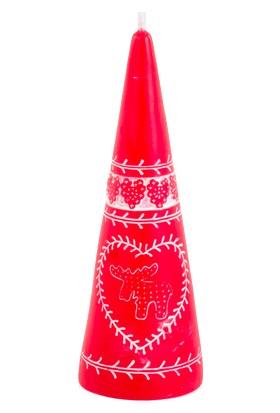 KullanAtMarket Konik Mum Kırmızı Desenli 15 cm