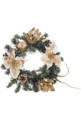 KullanAtMarket Krem Çiçekler Çelenk Kapı Süsü 33 cm