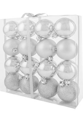 KullanAtMarket Yılbaşı Ağaç Süsü Gümüş 6 cm 16'lı