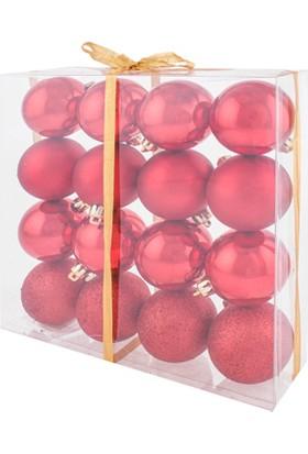 KullanAtMarket Yılbaşı Ağaç Süsü Kırmızı 6 cm 16'lı