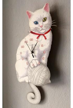 Markakanvas Kuyruğu Sallanan Sarkaçlı Beyaz Kedi Duvar Saati