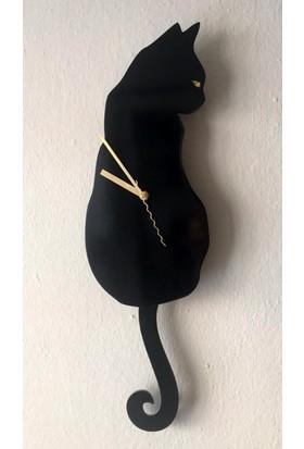 Markakanvas Kuyruğu Sallanan Sarkaçlı Siyah Kedi Duvar Saati
