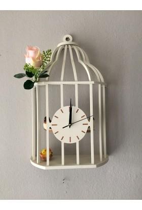 Markakanvas Beyaz Kuş Kafesi Sallanan Sarkaçlı Duvar Saati