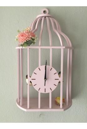 Markakanvas Pembe Kuş Kafesi Sallanan Sarkaçlı Duvar Saati