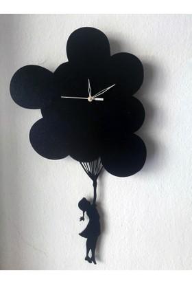Markakanvas Uçan Balon Sallanır Sarkaçlı Duvar Saati
