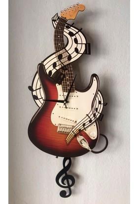Markakanvas Gitar Sallanır Sarkaçlı Duvar Saati