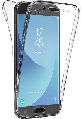 Microsonic Samsung Galaxy J7 Pro Kılıf 6 tarafı tam full koruma 360 Clear Soft Şeffaf
