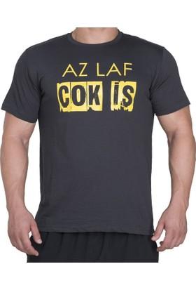 Supplementler Az Laf Cok İş T-Shirt - Koyu Gri