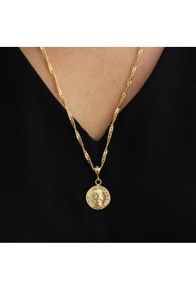 Nusret Takı 925 Ayar Gümüş Singapur Zinciri Bereket Simgesi Madalyon Kolye, Sarı