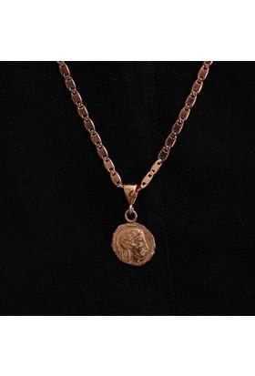 Nusret Takı 925 Ayar Rose Gümüş İskender Madalyon Kolye