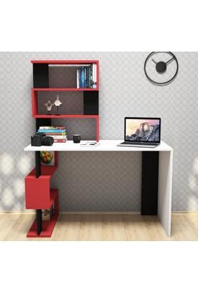 Snap Maxi Çalışma Masası-Beyaz-Kırmızı-Siyah