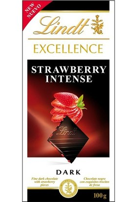 Lindt Excellence Dark Strawberry Intense Chocolate Çilekli Bitter Çikolata 100 gr