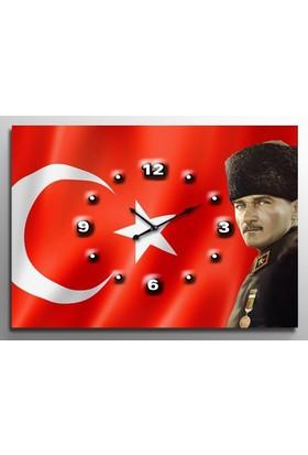ArtRedGallery Saatli Tablo - Atatürk Duvar Saati