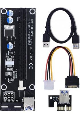 S-Link Sl-Ex116 Pcı-E 1X To 16X Sata 6Pin Bitcoin Ekran Kartı Yükseltici