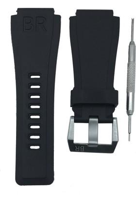 Bell & Ross B&R Uyumlu 24mm Siyah Silikon Saat Kordonu - Tokalı