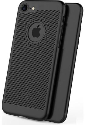 Case 4U Apple iPhone 6 Plus / 6S Plus Kılıf Delikli Sert Arka Kapak Siyah