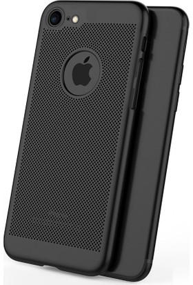 Case 4U Apple iPhone 7 Kılıf Delikli Sert Arka Kapak Siyah