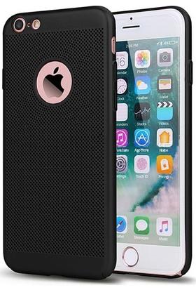 Case 4U Apple iPhone 6 / 6S Kılıf Delikli Sert Arka Kapak Siyah